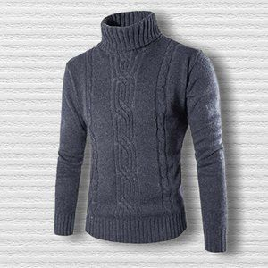 Casual Slim Knitted Turtleneck Pullover Sweater S